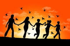 happy-women-running-down-hill-sunset-silhouettes-five-holding-their-hands-surrounded-flying-pigeons-31205250